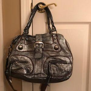 Pewter(silver-grey) Leather Purse by Carla Mancini
